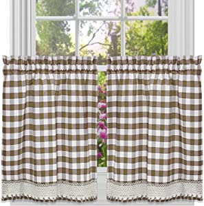 bed bath n more Classic Buffalo Check Kitchen Curtains Taupe/White Tier pair 36 x 58