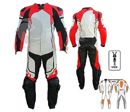 Traje de cuero para motocicleta de una pieza en color rojo ...