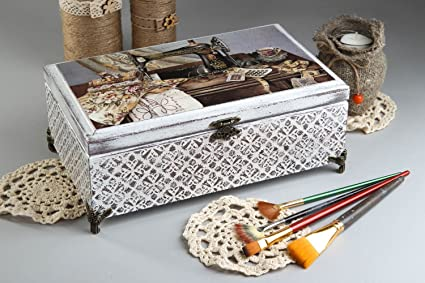 Caja de madera artesanal para costura decoracion de interior regalo original