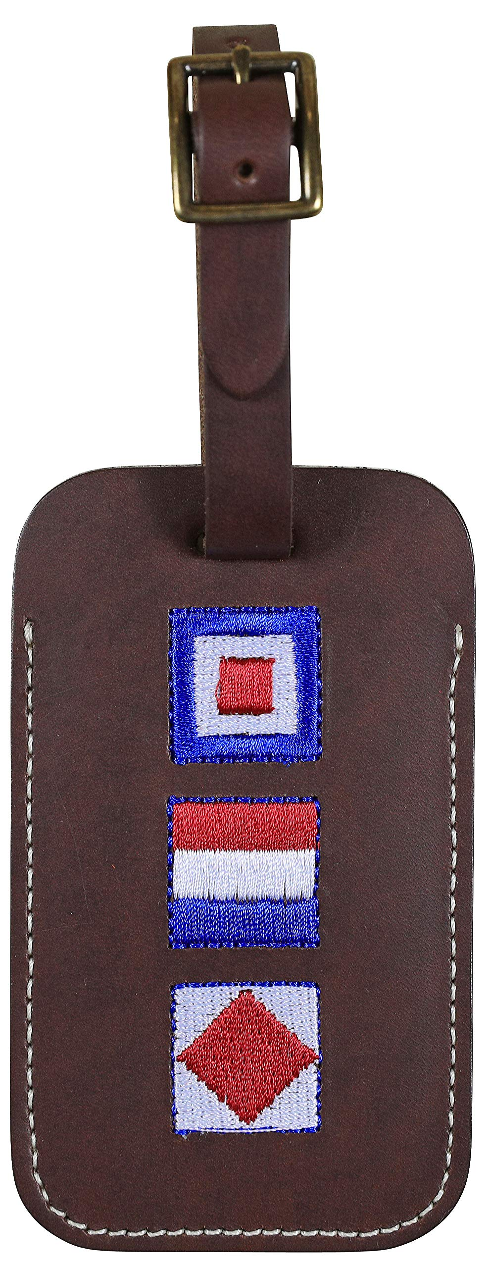 Maine Made Leather Luggage Tag for Men and Woman - Embroidered WTF Design