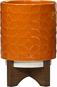 Orla Kiely   60's Stem   Medium   Ceramic Plant Pot with Stand   Orange