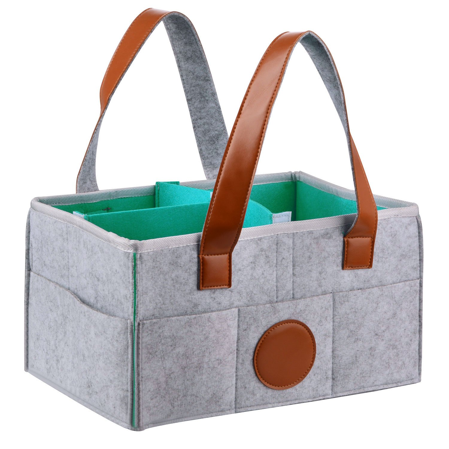 lulalula Large Baby Diaper Caddy, Portable Nappy Organizer Bag, Nursery Storage Organizer Bin, Grey Felt Baby Shower Gift Basket with Multi Pockets and Changeable Compartments