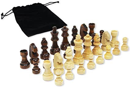 Da Vinci Staunton Wood Chess Pieces (32 Chessmen) U0026 Storage Bag U2026 (2.5