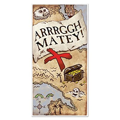 "Beistle 54716 Treasure Map Door Cover, 30"" x 5', Multicolor: Kitchen & Dining"