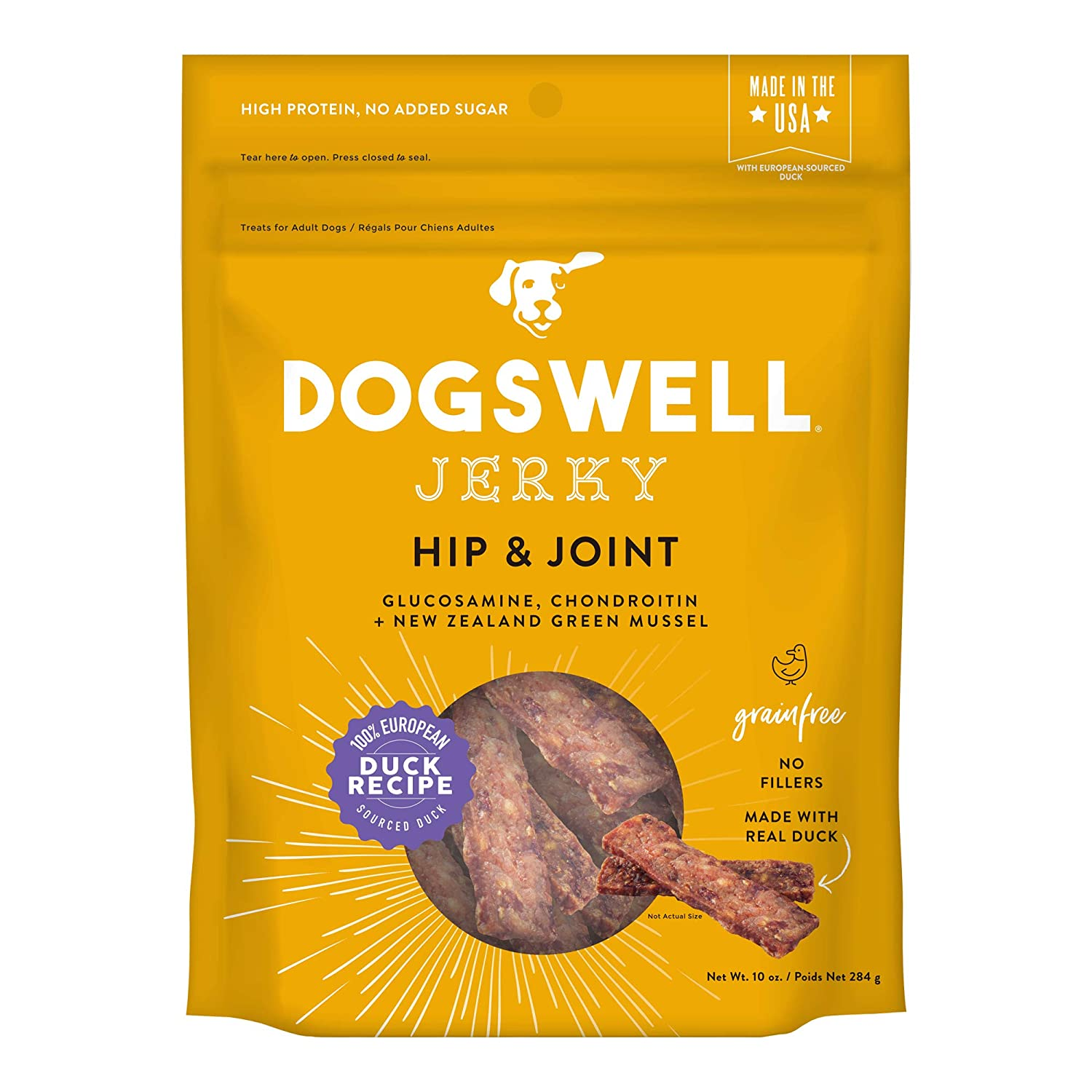 Dogswell 842194 Hip & Joint Duck Jerky Pet Food, 10 oz