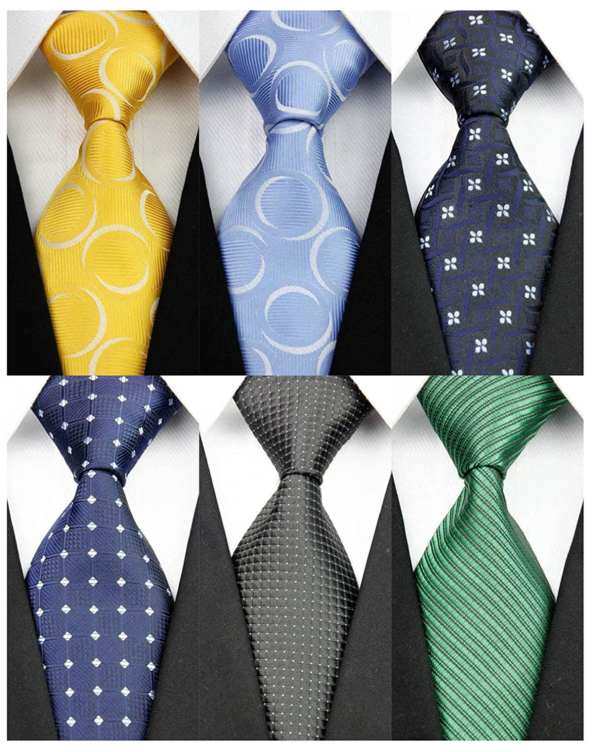 YanLen Pack of 6 Classic Men's Silk Polyester Tie Necktie Woven JACQUARD Neck Ties
