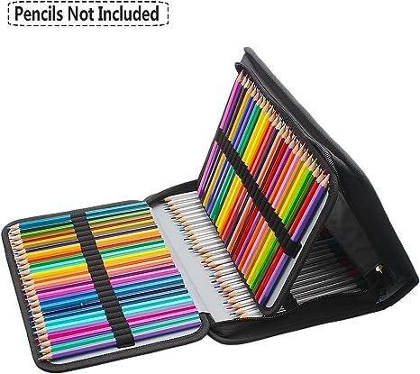 Niutop - Estuche de tela para 150 lápices de colores, lápices acuarelables, pasteles y brochas de cosméticos. Negro: Amazon.es: Hogar