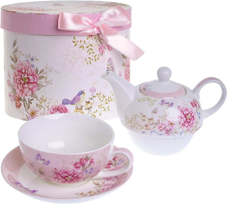 Juego de taza de té para uno, con tetera