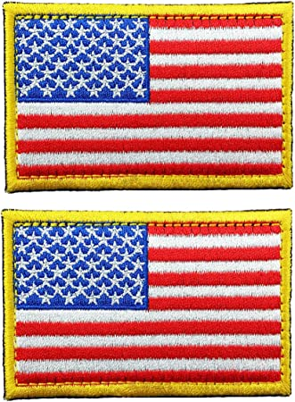 AMERICAN FLAG EMBROIDERED PATCH Hook Backing GOLD BORDER USA US United States