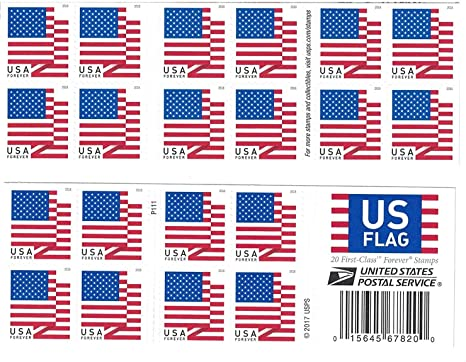 Usps Us Flag 2018 Forever Stamps Book Of 20