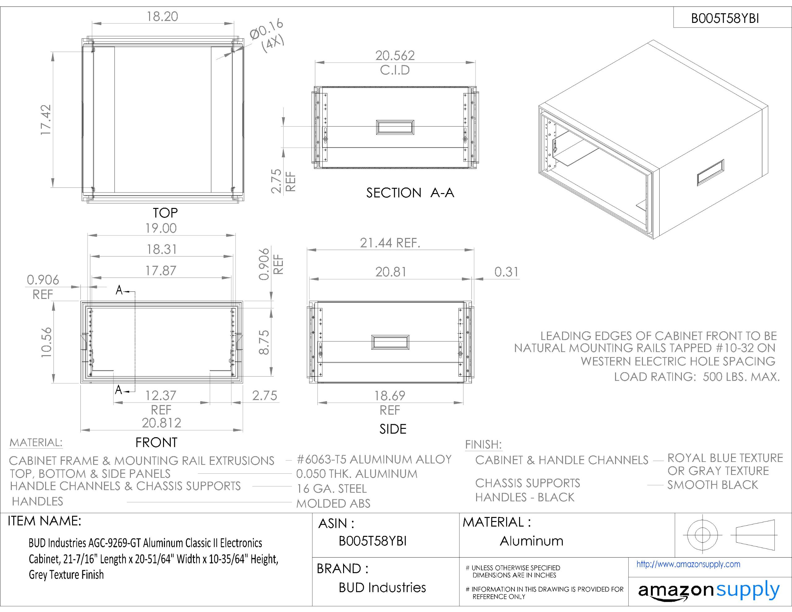 BUD Industries AGC-9269-GT Aluminum Classic II Electronics Cabinet, 21-7/16'' Length x 20-51/64'' Width x 10-35/64'' Height, Grey Texture Finish
