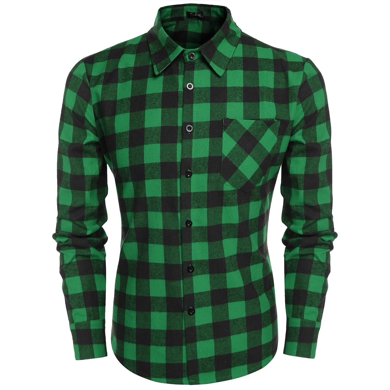 Coofandy Hombre Camisas Franela Cuadros Moda Manga Larga Men Fashion Slim Fit Casual Long Sleeves Shirts: Amazon.es: Ropa y accesorios