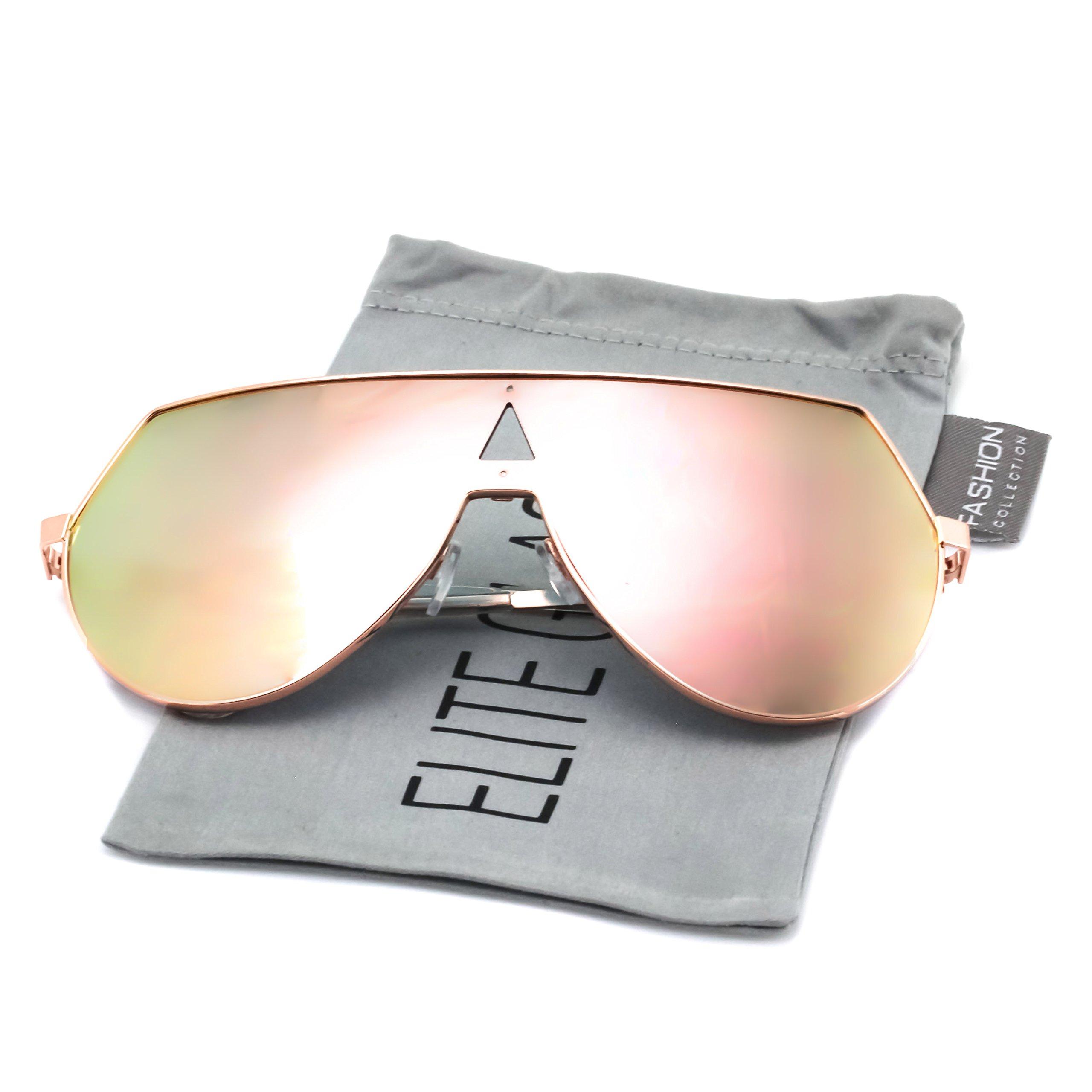 Elite Oversize Unisex Flat Top Aviator Retro Shield Mirrored Lens Rimless Sunglasses (Rose Pink Mirror, 5.8)