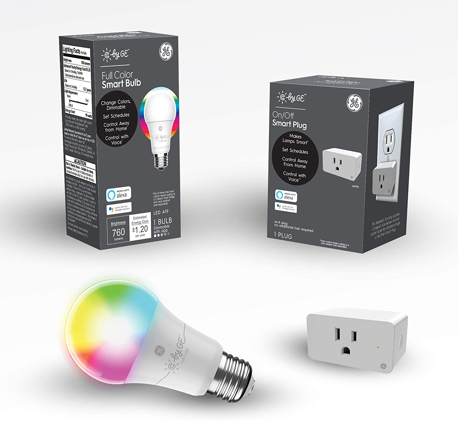 C by GE Smart Bundle Pack with 1 Smart Bulb and Smart Plug (1 LED A19 Full Color Bulbs + On/Off Smart Plug), Works with Alexa and Google Assistant, WiFi Enabled
