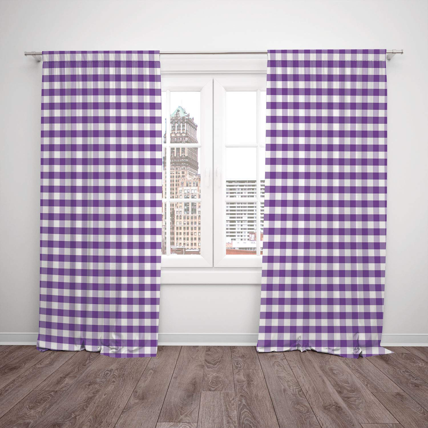 Polyester Window Drapes Kitchen Curtains,Checkered,Purple and White Colored Gingham Checks Rows Picnic Theme Vintage Style Print Decorative,Purple White,Living Room Bedroom Kitchen Cafe Window Drapes