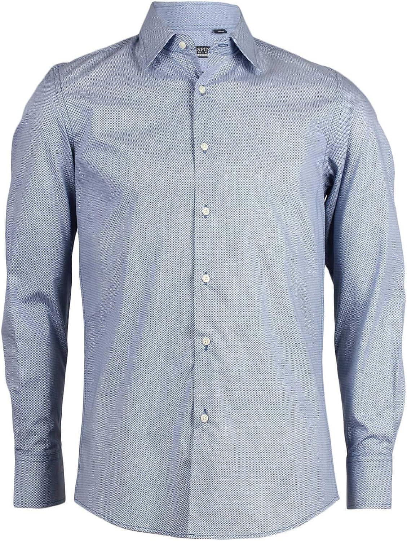 Uvaspina - Camisa de hombre celeste con microfantasía de ...