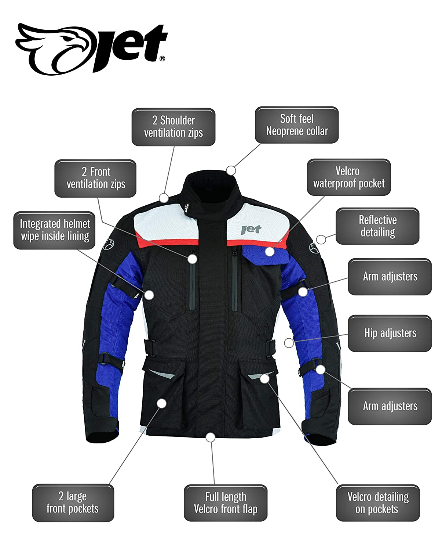 M EU 48-50 JET Blouson Veste Moto Homme Imperm/éable avec Armure Textile Aero Cool MERICANA