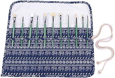 abaría Bolso estuche enrollable para pinceles para pintar al Óleo Acrílica Acuarela Bolsa organizador de lona 20 agujeros elefante azul: Amazon.es: Hogar