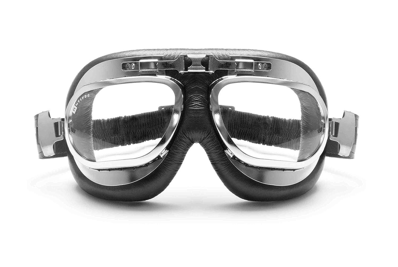 Gafas estilo aviador vintaje para moto. Recubiertas en piel negra y perfil en acero cromado.