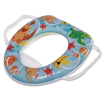 Kinder Toilettensitz Weich Gepolsterte Baby WC-Sitz mit Zwei Griffen Blau