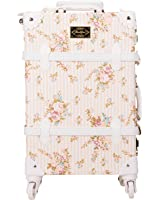 CO-Z Waterproof PU Vintage Luggage Floral Decorative Suitcase with TSA Locks and Noise-reducing Caster Wheels