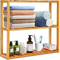 Estantería de bambú para baño o cocina, 3 niveles, estantería de almacenamiento para plantas, armario de pared, toallero con altura…
