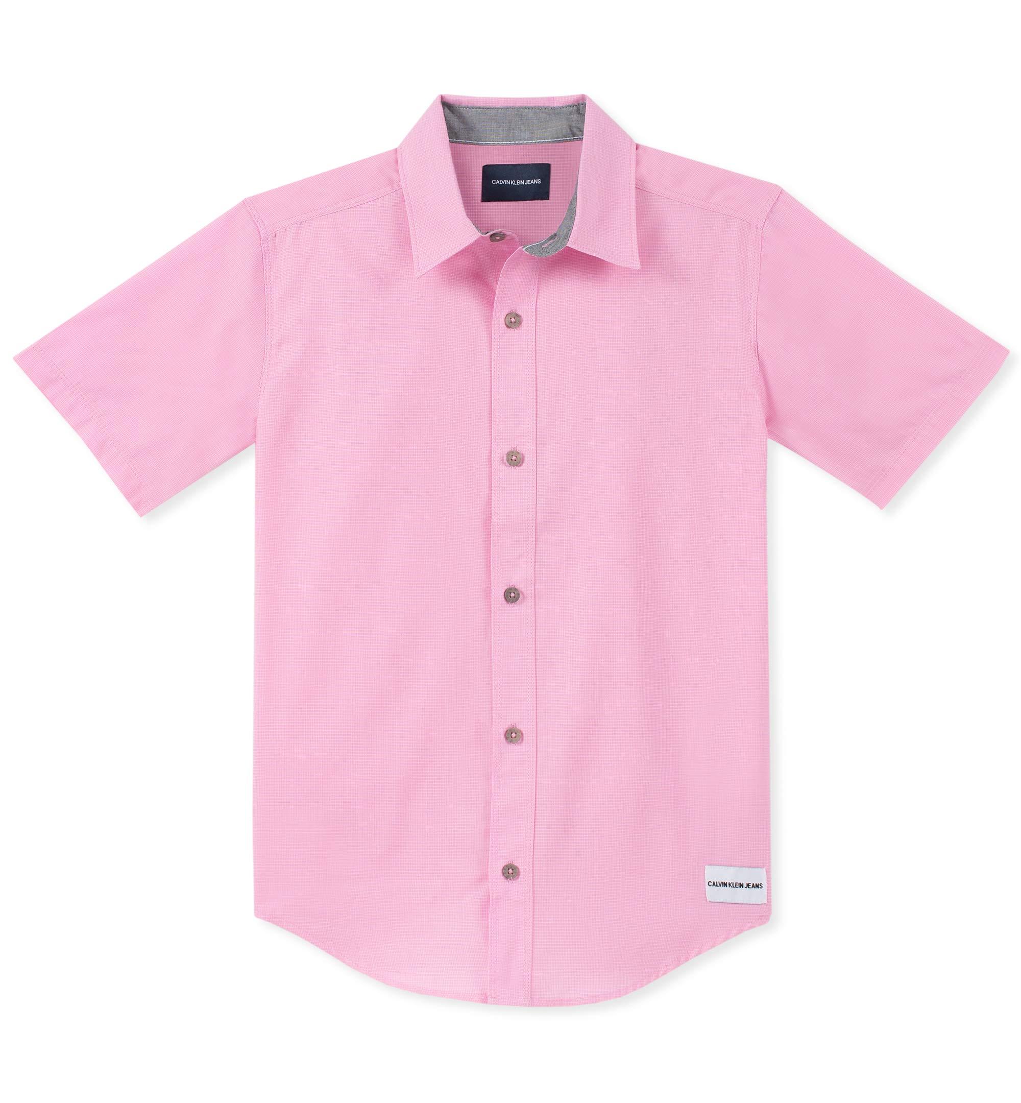 Calvin Klein Boys' Big Horizontal Chambray Short Sleeve Shirt, Begonia Pink, Large (14/16)