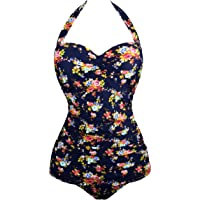 Angerella Vintage 50s Pin up Halter One Piece Swimsuit Monokinis