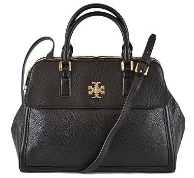5b37723cd33e Tory Burch Women s Black Leather Mercer Dome Convertible Purse Handbag ...