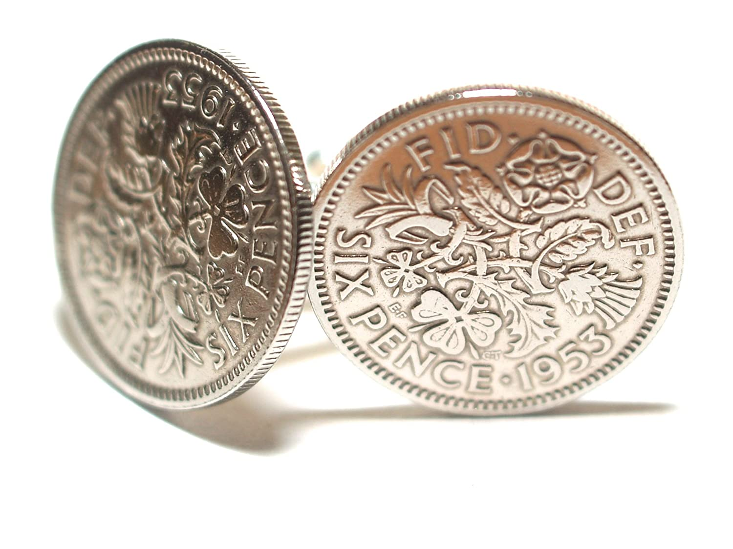1953 Original Lucky Sixpence 6d birthday/Anniversary Cufflinks ideal for a 65th birthday rstrading 1953sixpencecuff