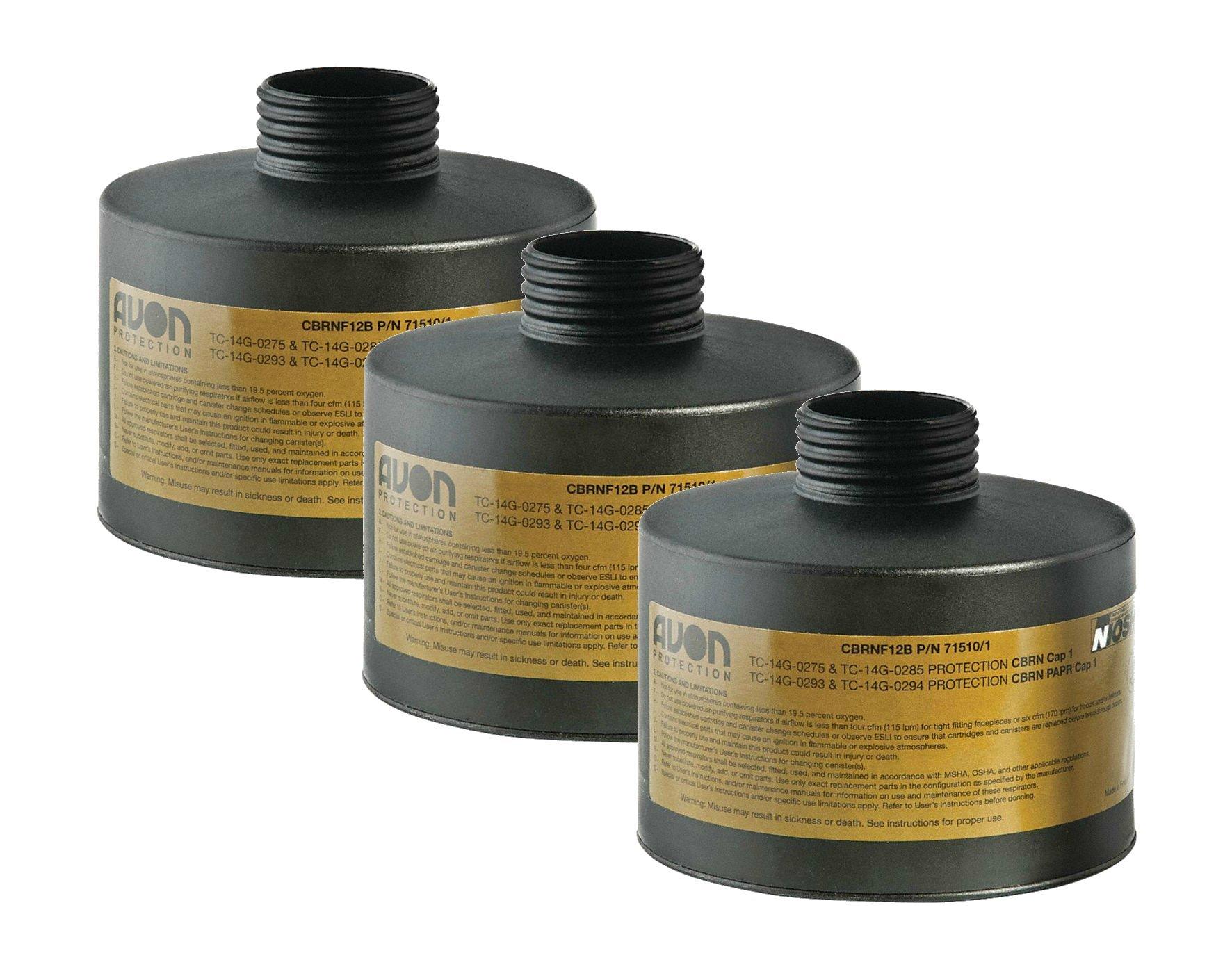 Filter, Gas Mask, Avon, CBRN FM12, Black, 3 Pack