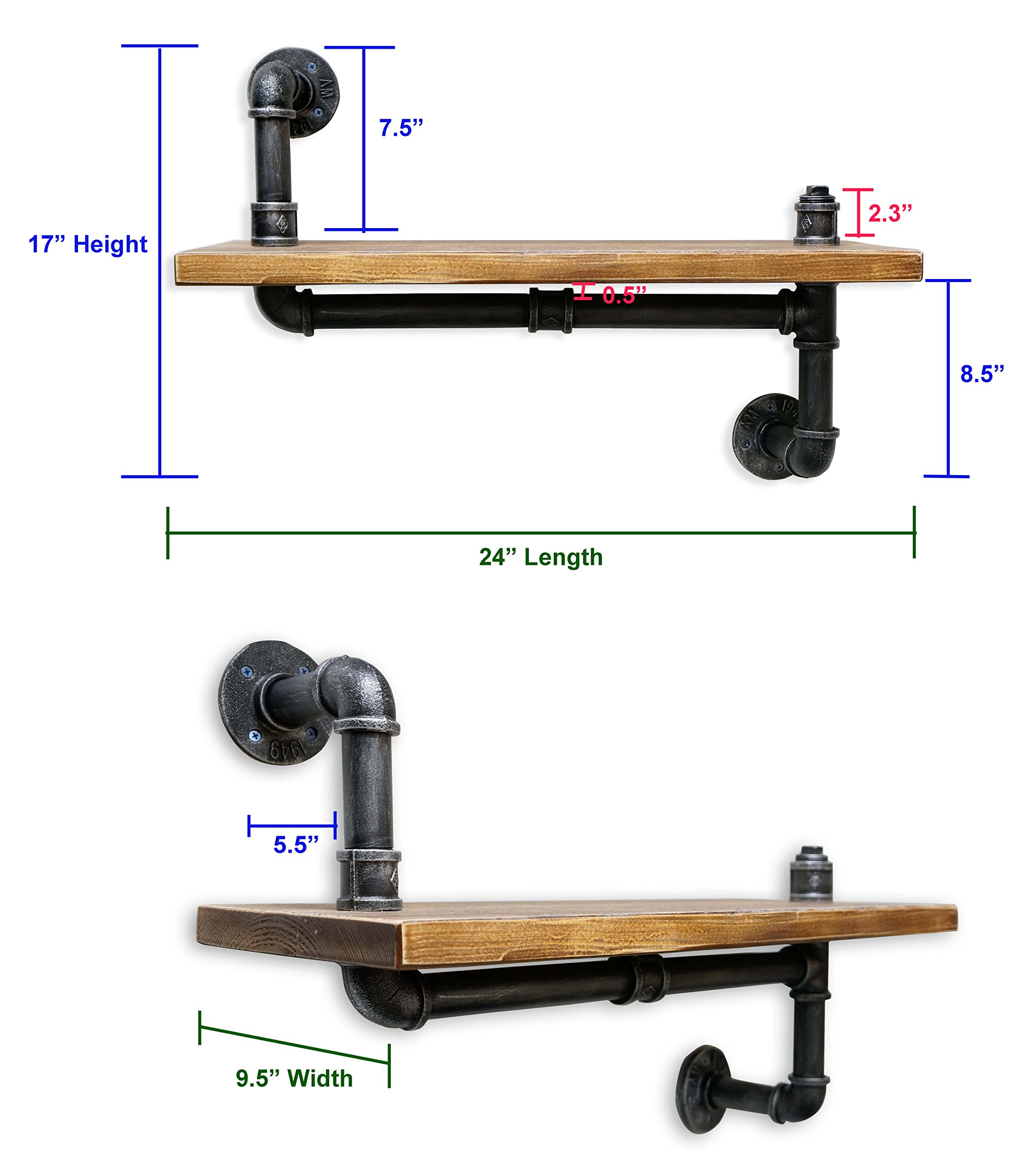 NACH Qa-1032 Diy Industrial Style Asymmetrical Silver Brushed Black Pipe and Single Rustic Modern Wood up Down Shelf, 24'' x 9.8'' by NACH (Image #4)
