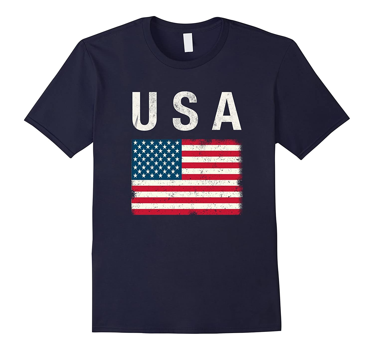 Vintage USA T Shirt Patriotic Red White Blue American Flag-FL