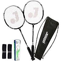Jaspo Cosmo EZ-100 Plus (2 Badminton+Feather Shuttle Cork+ Carry Bag+Grip)(Multi Colour Racket)