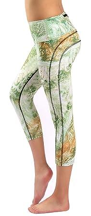 8b2f3ec7001fd Neonysweets Womens Printed High Waist Tummy Control Capri Pants Active  Workout Leggings S