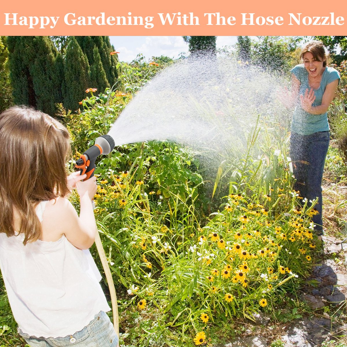 Hose Nozzle Garden Hose Nozzle Hose Spray Nozzle Leak Free High Pressure Heavy Duty 8 Pattern For Watering Plant Washing Cars Pets Shower by Easynozzle (Image #2)