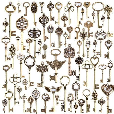 ea886213ce4c Diossad 69 unidades llaves vintage llaves esqueleto Bronce DIY accesorios  dijes bisuteria Hecha a Mano