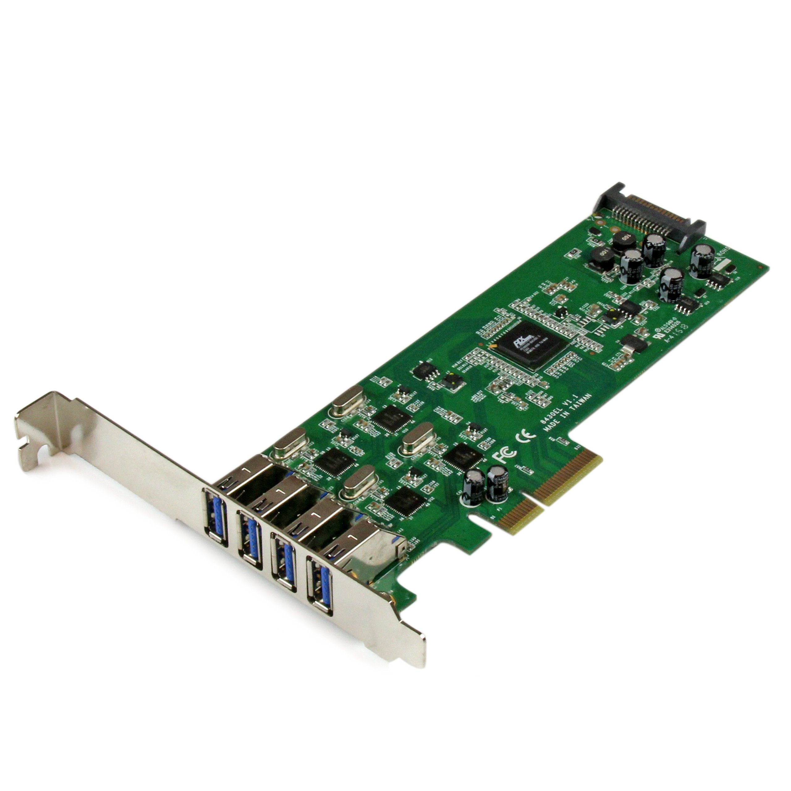 StarTech.com 4 Independent Port PCI Express SuperSpeed USB 3.0 Controller Card Adapter with SATA Power PEXUSB3S400