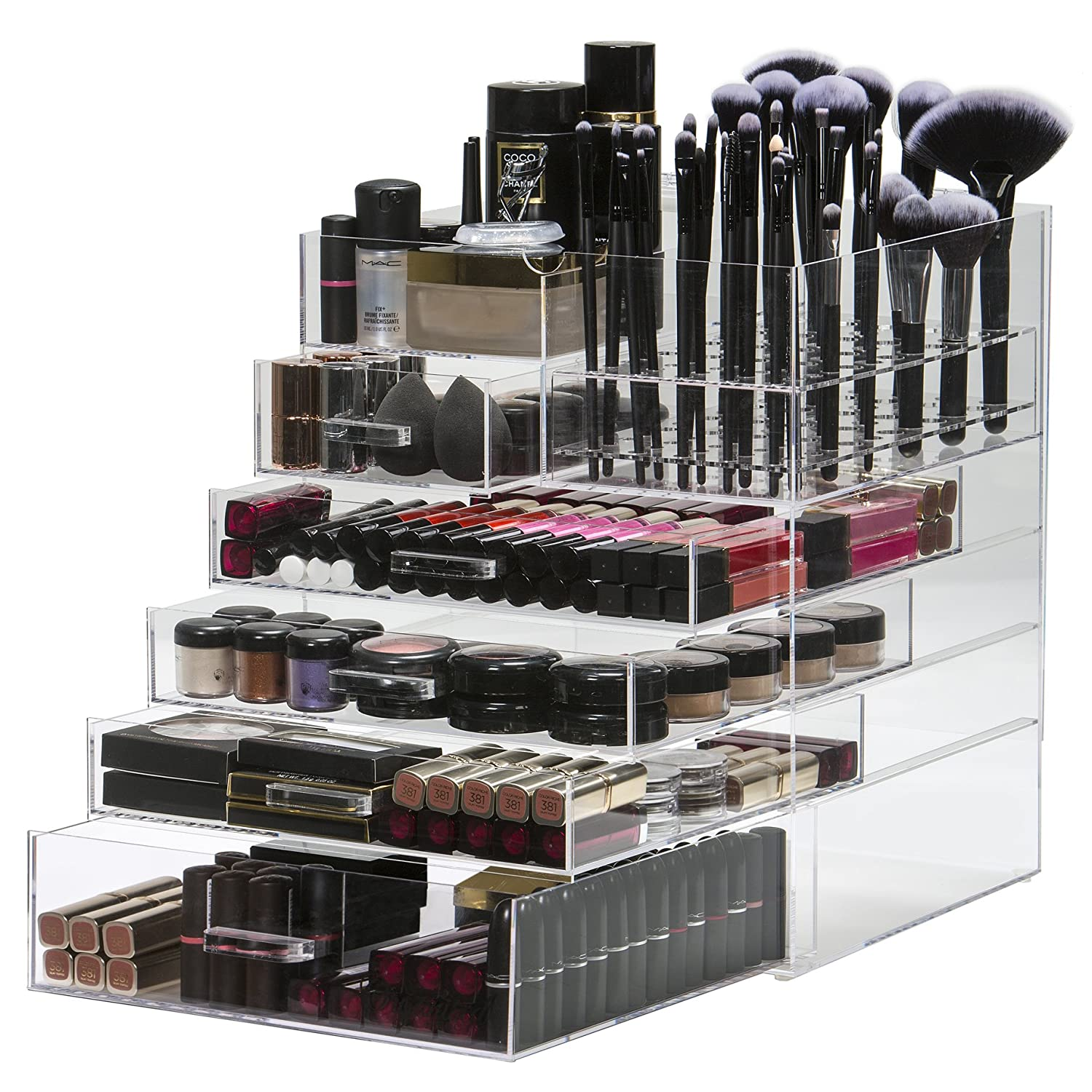 Large 6 Tier Acrylic Makeup Organiser Storage Cube Clear | Cosmetic Organiser 5 Drawer & Removable 52 Piece Makeup Brush Holder | By Organised Beauty