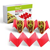 KitchenX Colorful Taco Holders Set of 2 Taco Stands for 3 tacos in each Taco Stand - Sturdy, Dishwasher and Microwave Safe, T
