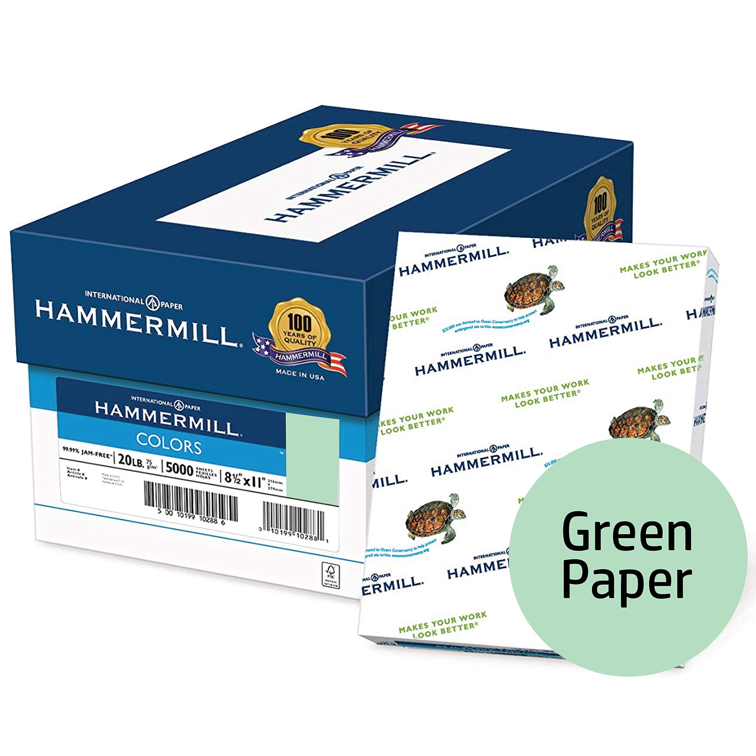 Hammermill Colored Paper, Green Printer Paper, 20lb, 8.5x11 Paper, Letter Size, 5000 Sheets / 10 Ream Case, Pastel Paper, Colorful Paper (103366C)