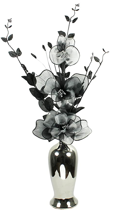305 & Silver Vase with Grey Black Artificial Flowers in Vases Fake Flowers Ornament for Living Room Conservatory Window Sill Home Accessories Medium - ...