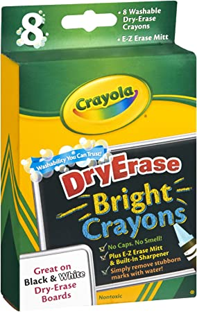 Dry-Erase Crayons Brights Large Size 8 ct