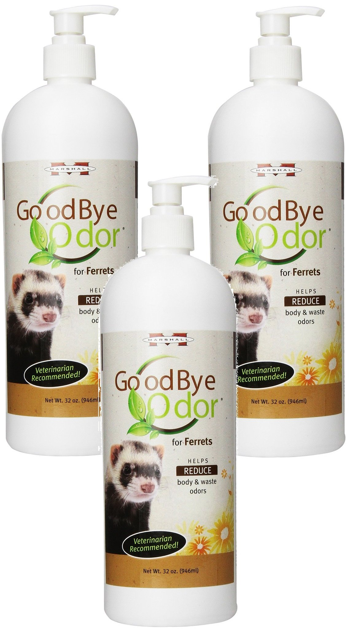 (3 Pack) Marshall GoodBye Odor for Ferrets 32-Ounce Bottles