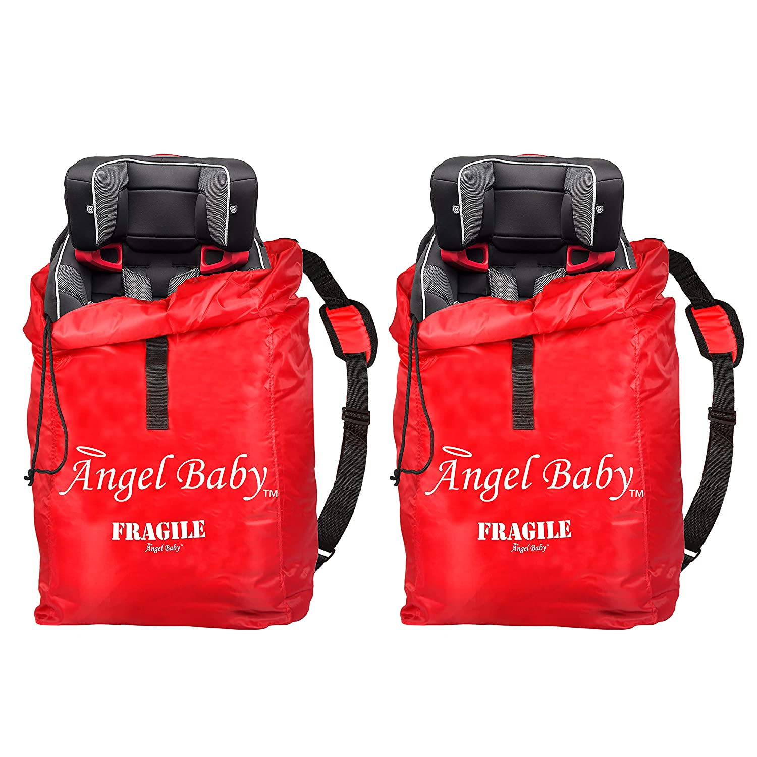 CAR SEAT Travel Bag 2 Pack - Durable Polyester with Shoulder Strap, Water Resistant, Lightweight - Great for Airport Gate Check and Storage - Fits Carseats, Booster & Infant Carriers by Angel Baby Angel Direct Products