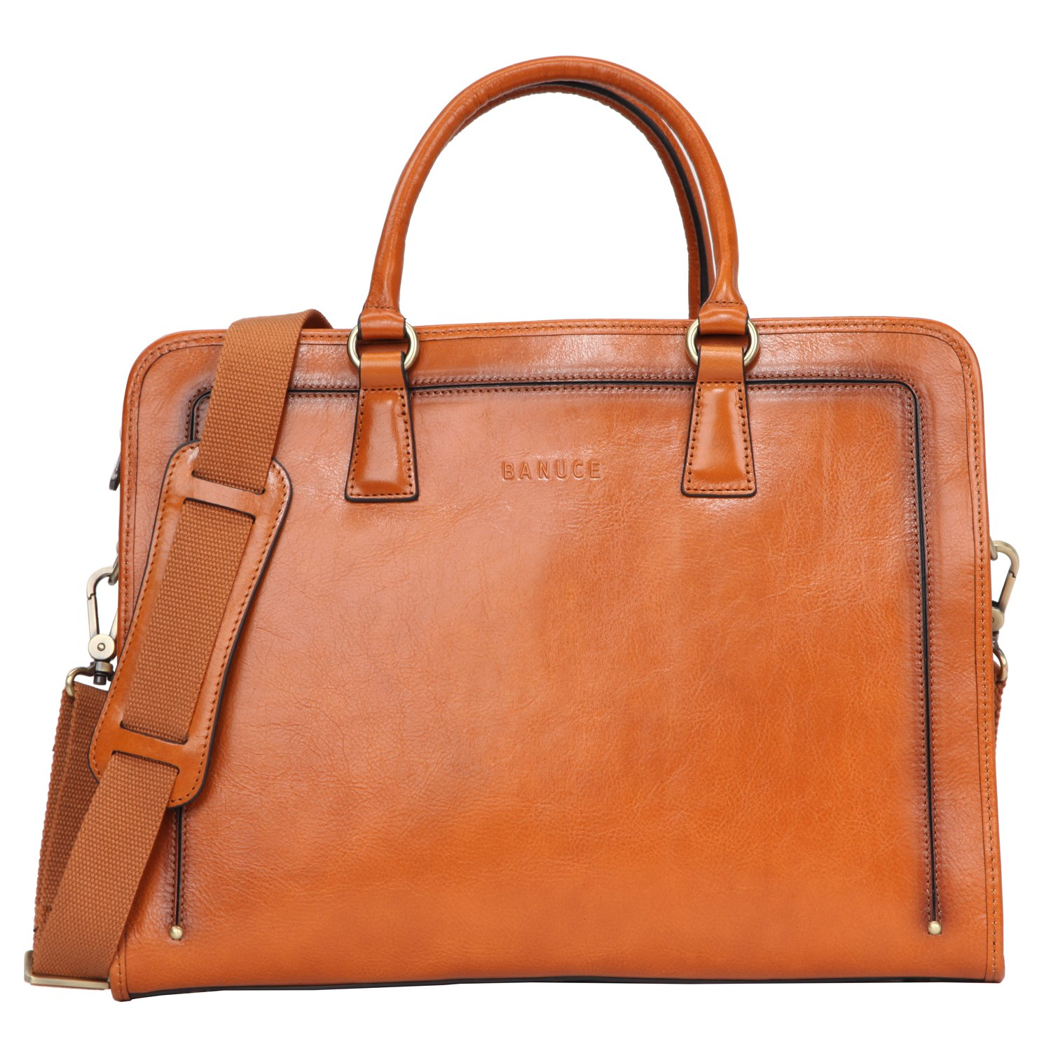 Banuce Women's Full Grains Leather Briefcase Messenger Satchel Bag 14 Laptop Cas