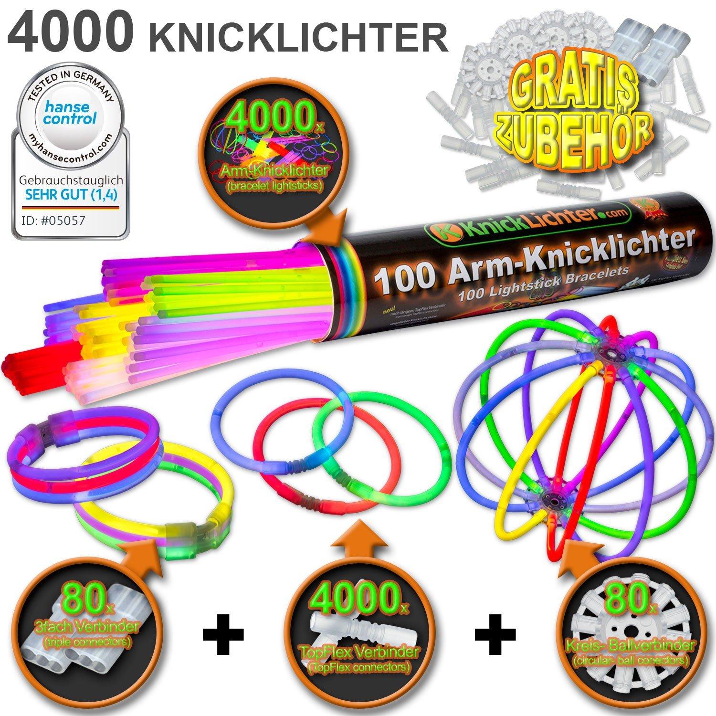 4000 Knicklichter 7-FARBMIX Testnote  1,4 'SEHR GUT' inkl. 4160 Verbindern