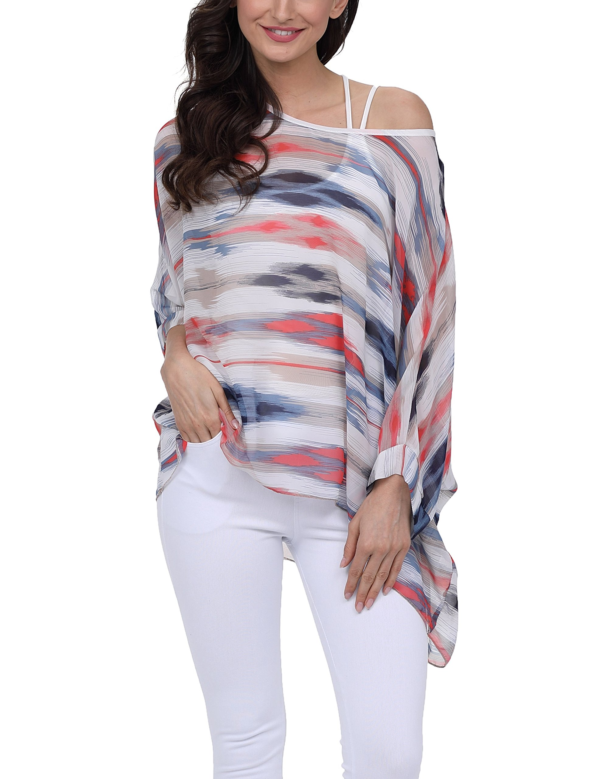 iNewbetter Womens Floral Batwing Sleeve Chiffon Beach Loose Blouse Tunic Tops PB282