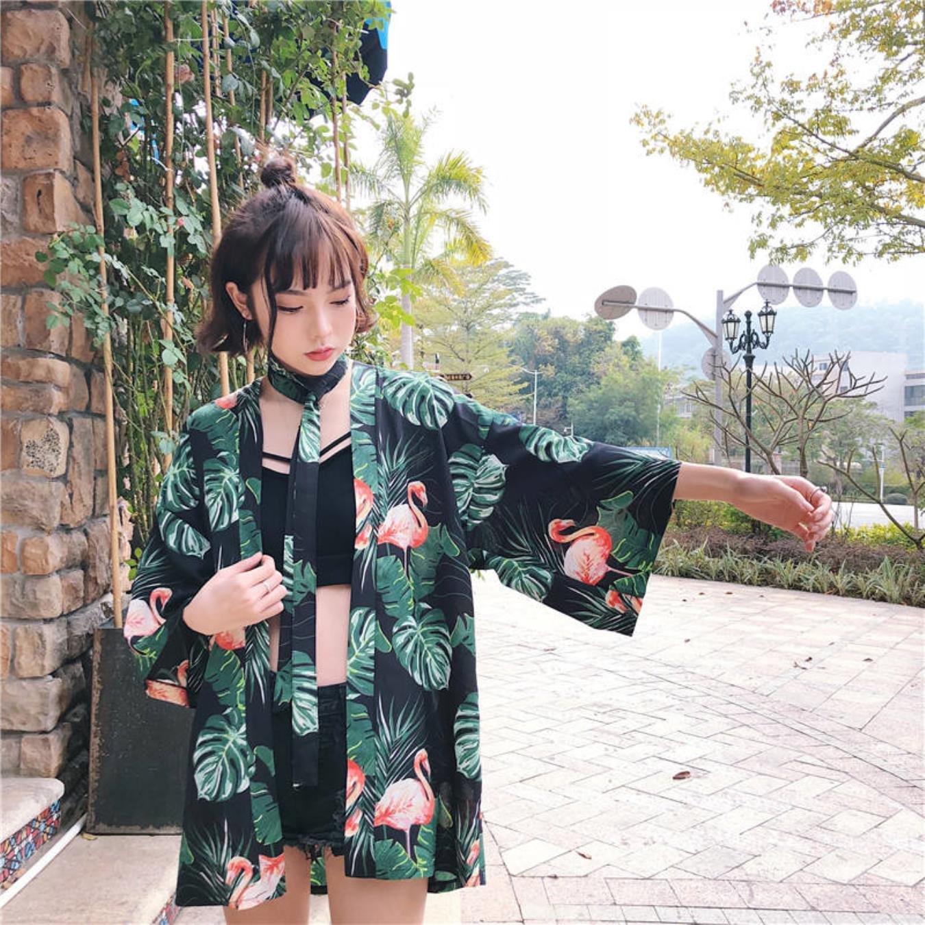 Neploe Harajuku Kimono Blouses Japanese Long Cardigan 3D Flower Print Outerwear Shirts Women Sun-protection Coats