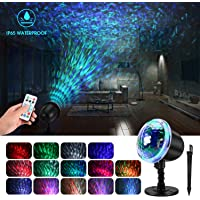 KINGWILL Waterproof LED Night Light Projector with Ripple RGB 3D Water Effect & Remote Control